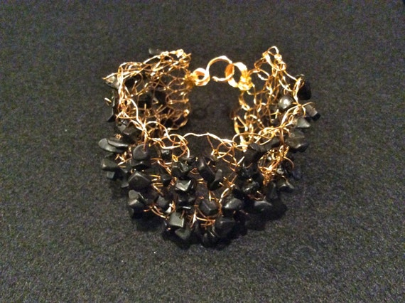 SJC10214 - Handmade gold filled wire crochet cuff bracelet with black jasper chips - gemstone.