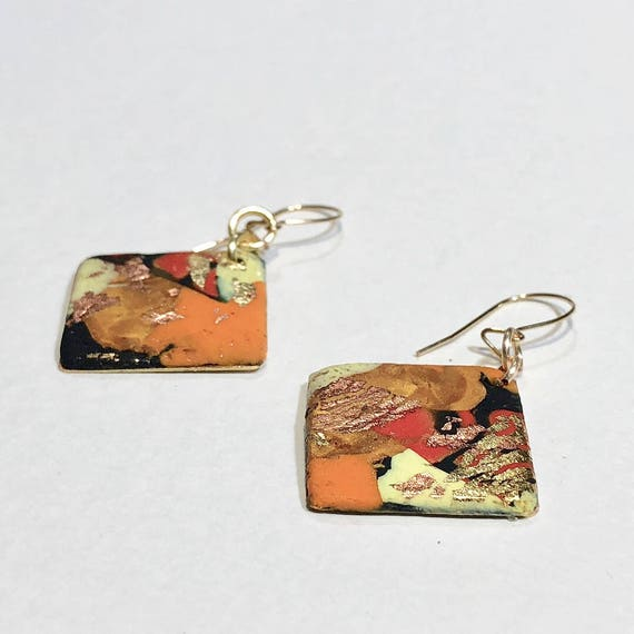 SJC10038 - Earrings - orange red black yellow handmade polymer clay on diamond shaped gold plated piece with 14K gold filled ear wire