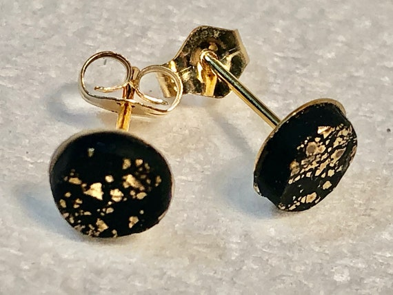 SJC10388 - Earrings - contemporary handmade black/gold polymer clay 14K Gold filled studs
