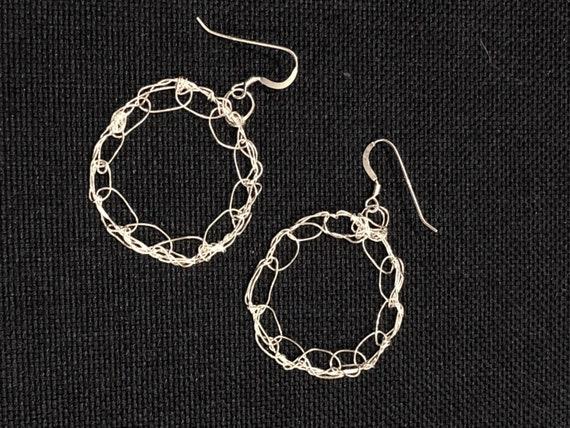 SJC10479 - Handmade ring sterling silver wire crochet earrings