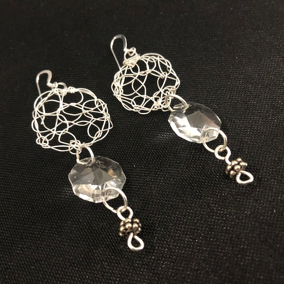SJC10484 - Earrings - sterling silver wire crochet with recycled clear chandelier crystal hexagonal prism