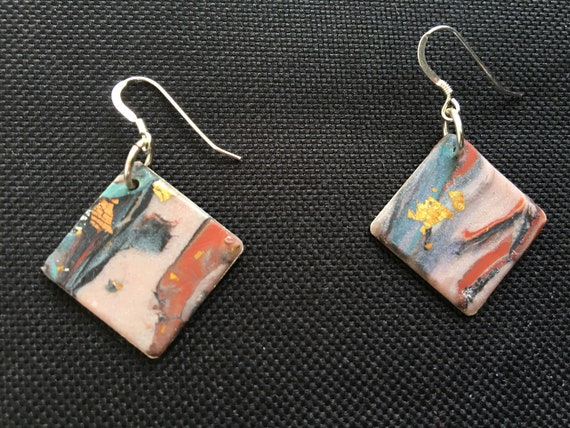 SJC10337 - Earrings - pink/blue/red contemporary handmade polymer clay on diamond shaped piece with sterling silver ear wires