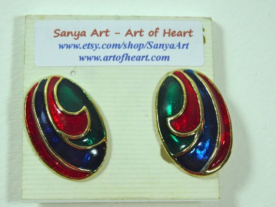 SJC10018 - Clasp Vintage earrings - SJC10002 - Red, Blue, Green, Gold