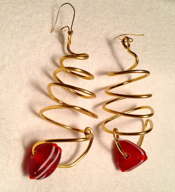 SJC10013 - Brass earrings with wire work and red triangular glass bead with white stripes and bright red dots