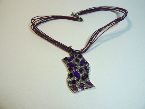 SJC10277 - Vintage -  purple sparkling crystal silver-color pendant necklace