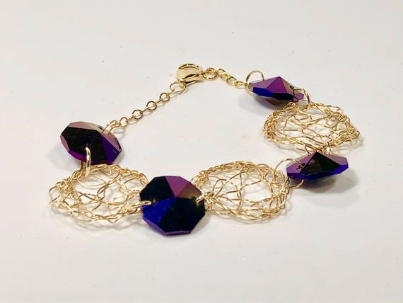 SJC10111 - Handmade 14K gold filled wire crochet and chain bracelet with purple crystal prisms from a chandelier