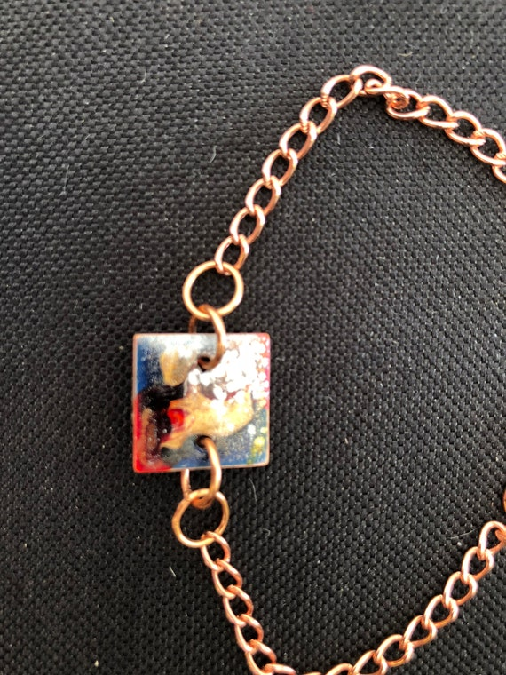SJC10346 - Contemporary handmade enamel painted blue/red/gold square bracelet with copper jump rings  and clasp.