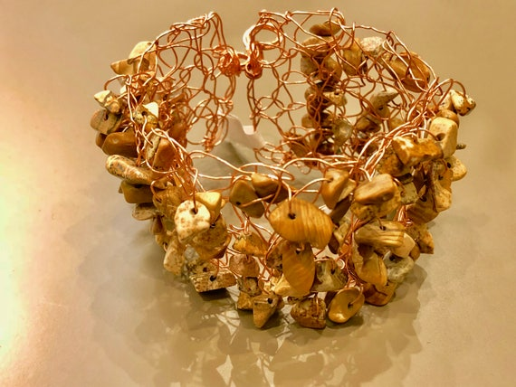 SJC10139 - Handmade copper wire brown crochet cuff bracelet with jasper gemstone chips