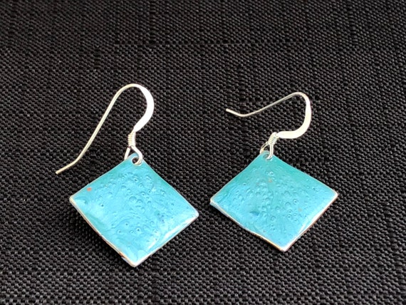 SJC10327 - Handmade small diamond shape turquoise blue enamel silver plated earrings