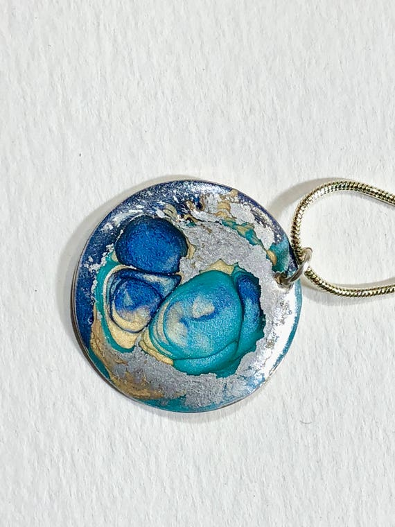 SJC10154 - Handmade round  silver plated enamel painted (blue/turquoise/silver) pendant abstract necklace with sterling silver chain.