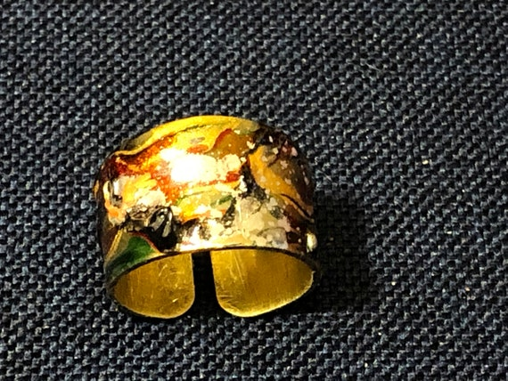 SJC10500 - Enamel painted (orange/yellow/green) brass adjustable ring with abstract designs (multi-colors).
