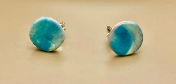 SJC10037 - Earrings - contemporary handmade turquoise/cream/silver polymer clay sterling silver studs