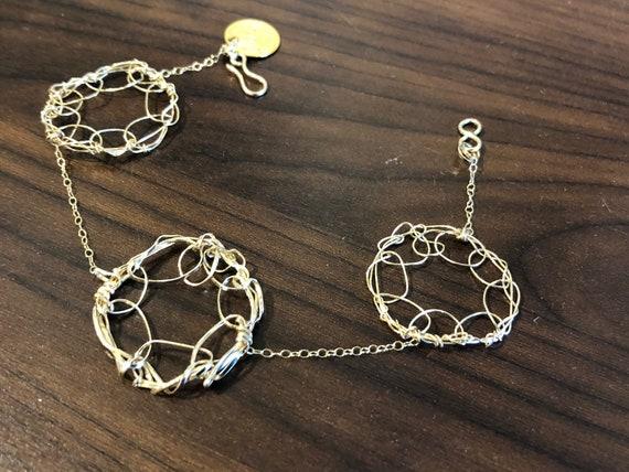 SJC10477 - Handmade 3-ring 14K Gold filled wire crochet bracelet with 14K gold filled chain