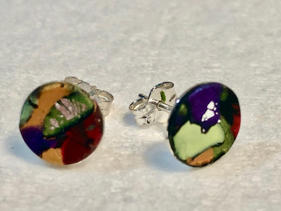 SJC10390 - Earrings - contemporary handmade red/purple/yellow/orange polymer clay sterling silver studs