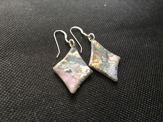 SJC10334 - Earrings - pink/gray/silver/gold contemporary handmade polymer clay on kite shaped piece with sterling silver ear wires