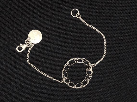 SJC10480 - Handmade 1-ring sterling silver wire crochet bracelet with chain