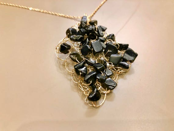 SJC10115 - Handmade 14K gold-filled wire crochet pendant necklace with black jasper gemstones