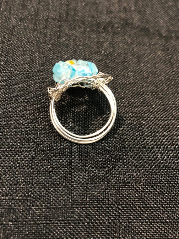 SJC10320 - Ring - Sterling silver wire crochet rectangle with light blue glass beads