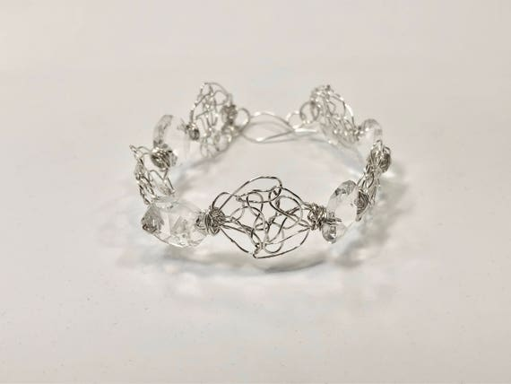 SJC10203 - Handmade sterling silver wire crochet bracelet with round wire crochet pieces and chandelier crystal hexagonal prisms
