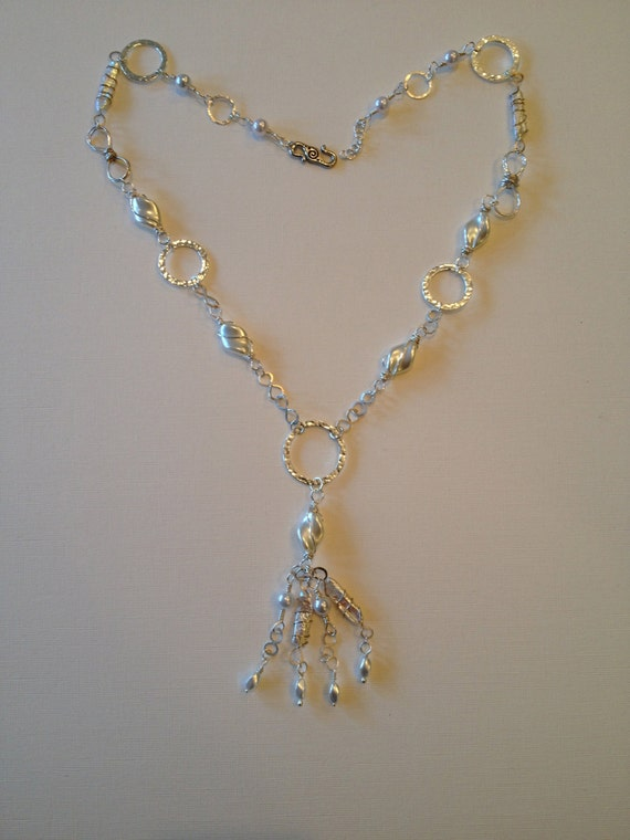 SJC10235 - Pearl beads and silver wire work necklace