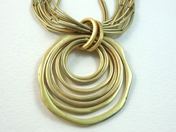 SJC10282 - Vintage concentric circle gold color necklace