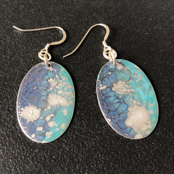 SJC10459 - Handmade oval enamel earrings with abstract designs (blue/turquoise/silver) with sterling silver ear wires