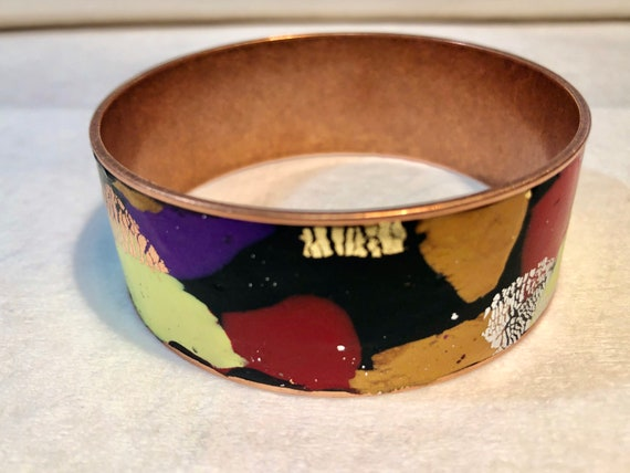 SJC10393 - Handmade contemporary and abstract polymer clay copper bangle design