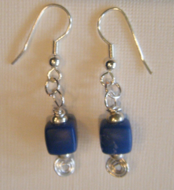 SJC10004 - Blue square bead and silver earrings.