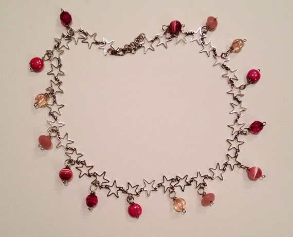 SJC10239 - Pink beads and star chain necklace.