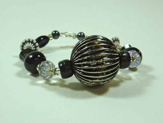 SJC10254 - Silver-color metal /black beaded bracelet