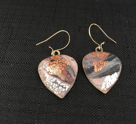 SJC10340 - Earrings - gray/pink/copper/silver contemporary handmade polymer clay on leaf shaped piece with 14 k gold filled ear wire