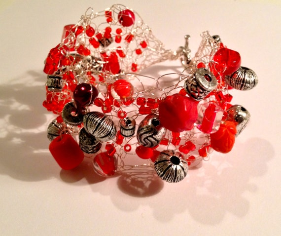 SJC10145 - Handmade silver beaded wire crochet cuff bracelet with various types, sizes and shapes of metal and red beads