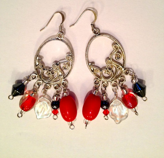 SJC10244 - Red, pewter, silver and Swarovski crystal beaded earrings.