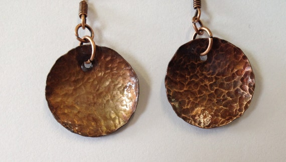 SJC10077 - Hammered antique-look round copper earrings