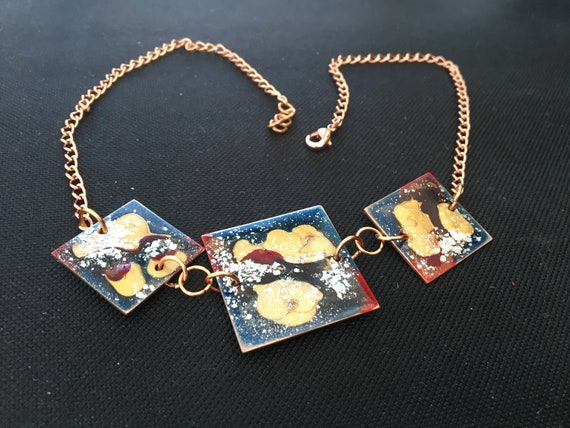 SJC10345 - Statement contemporary handmade enamel painted blue/red/gold necklace with copper finishes, chain and clasp.