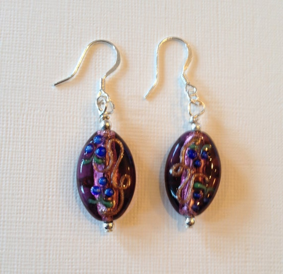 SJC10050 - Earrings with purple glass beads that include pink, blue, green and golden touches