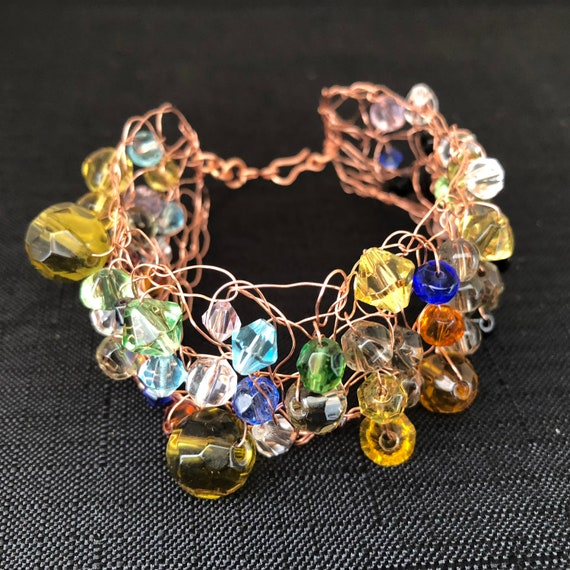 SJC10310 - Handmade copper wire crochet cuff bracelet with multicolor glass beads