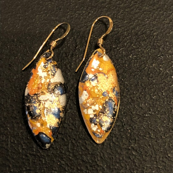 SJC10458 - Handmade eye-shape enamel earrings with abstract designs (blue/orange/gold/silver) with 14K gold filled ear wires