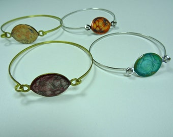 SJC10063 - Enamel-like brass or silver-color metal self-closing bangles with abstract designs (multi-colors)