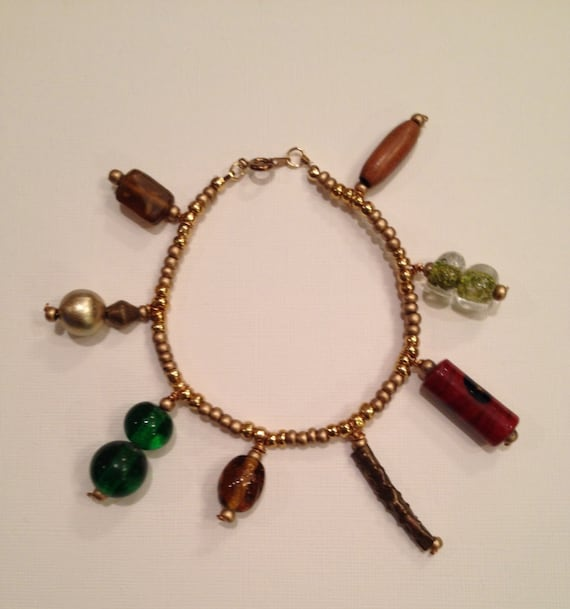 SJC10065 - Fall colors beaded bracelet with golden, wood, metal and glass ceramic beads
