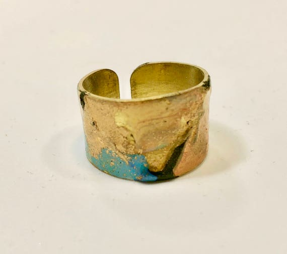SJC10059 - Enamel painted brass adjustable ring with abstract designs (multi-colors).