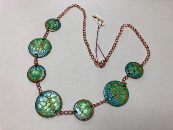 SJC10344 - Contemporary handmade enamel painted blue/green/orange necklace with copper finishes, chain and clasp.