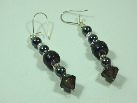 SJC10255 - Silver-color metal /black beaded earrings