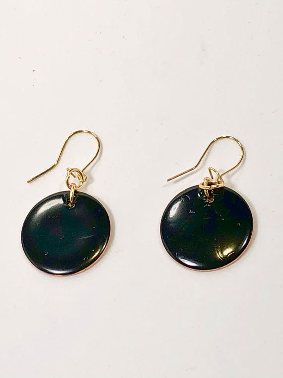 SJC10177 - Handmade round black enamel gold filled earrings with abstract designs