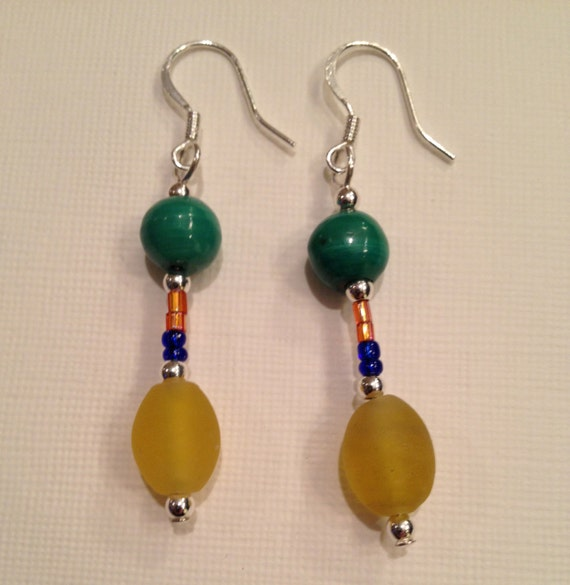 SJC10069 - Fiesta Design - Earrings with multi-color glass and gemstone beads