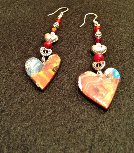 SJC10085 - Handmade earrings with contemporary multicolor polymer clay heart charm, red glass and silver/silver plated heart beads.