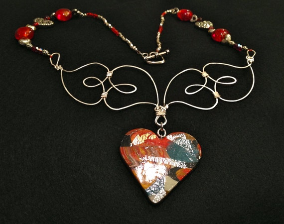 SJC10157 - Handmade necklace with contemporary multicolor polymer clay heart pendant, silver wire hearts, red glass and silver heart beads