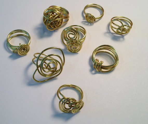 SJC10294 - Wire wrapped brass rings