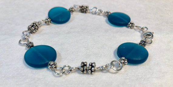 SJC10394 - Handmade silver bracelet with blue sea glass, silver beads and sterling silver lobster clasp