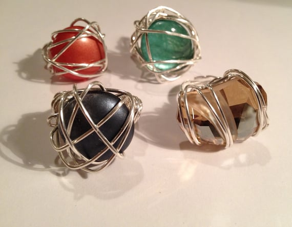 SJC10266 - Swarovski crystal or glass cabochon silver-plated wire wrapped ring.